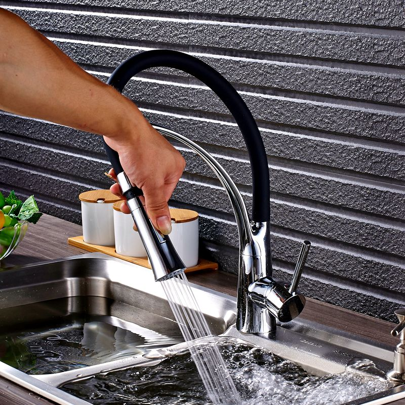 Chrome Kitchen Sink Faucet Swivel Pull Down Kitchen Faucet Sink Tap Mounted Deck Bathroom Mounted Hot and Cold Water Mixer hpb brass white kitchen mixer rotary sink faucet deck mounted hot and cold water tap pb free torneira cozinha hp4007