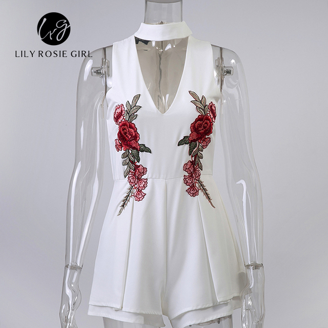 2018 Summer Elegant V Neck Rose Floral Women Playsuits Sleeveless White Jumpsuits Rompers Casual Beach Overall Embroidery