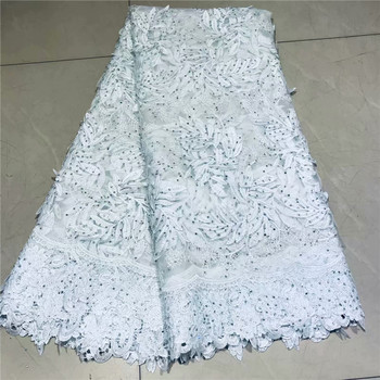 French Lace Fabric Pure White Nigeria Lace Fabric High Quality African Tulle Lace Fabric For Wedding Party Dress 2L2-18
