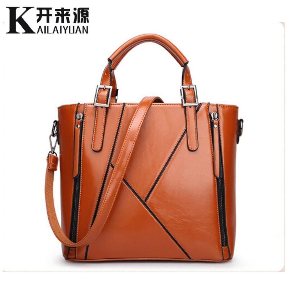 KLY 100% cuero genuino bolsos de las mujeres 2018 nueva Europa bolsa de mensajero diseño de costura de las señoras