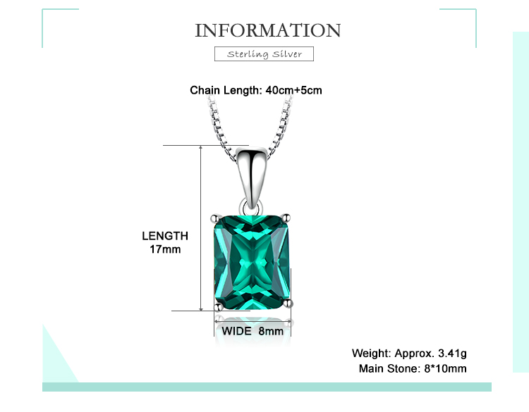 Honyy ?Emerald   925 sterling silver necklace for women NUJ056E-1-app (2)