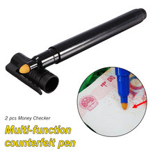 цена на Convenient Money Checker 2pcs Currency Detector Counterfeit Marker Fake Banknotes Tester Pen Unique Ink Hand Checkering Tools