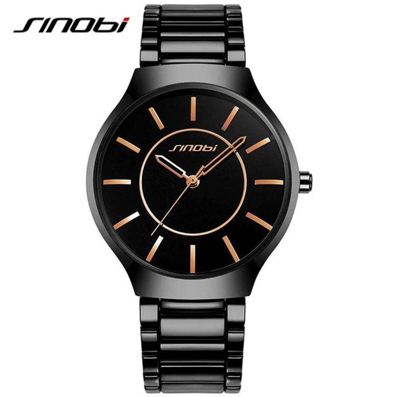 Prix pour SINOBI Sport Causal Hommes de Montres En Acier Inoxydable Bracelet Haut De Luxe Marque Hommes Genève Quartz Horloge Gents Montre-Bracelet