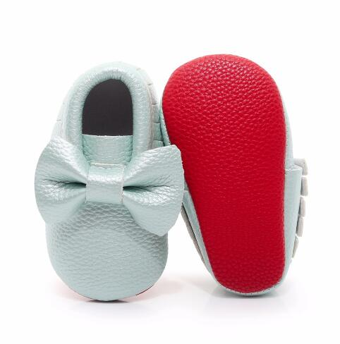 b8ccbcce303 Red bottom Newborn Baby Moccasins Soft PU leather infant boys girls Shoes  Bebe Fringe big bow Soft Soled Footwear Crib Shoe