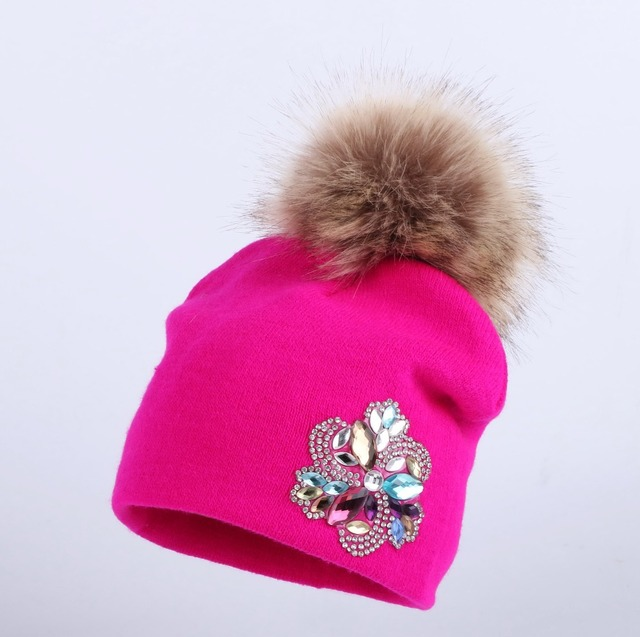 581b1667749 0 to 3 year old baby knitted winter hat cap girl boy kids cotton fuchsia  pompom children floral beanies casual skullies hats