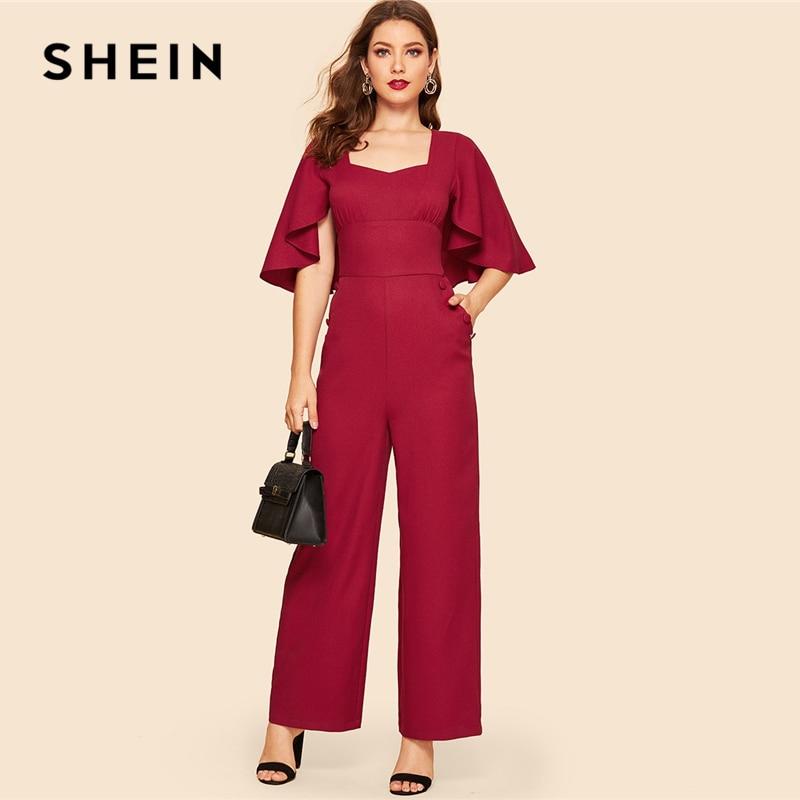SHEIN Vintage Burgundy Sweetheart Neck Double Breasted Flounce Sleeve   Jumpsuit   Women Workwear Office Lady Wide Leg   Jumpsuits