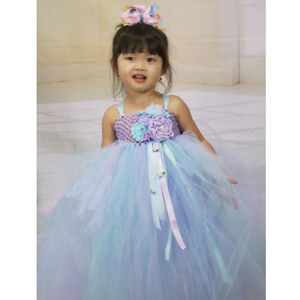 Elegant Purple Top Blue Mesh Tulle Tutu Dress Princess Kids Unicorn Lol Dress for Girl Ankle Length Flower Girls Dresses Age 13 (7)