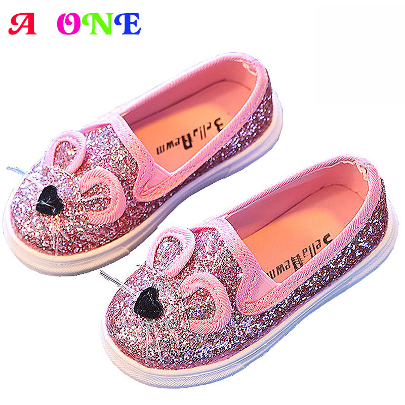 Spring autumn summer glitter 3d cartoon cat beard baby girls skate shoes boys kid flats children toddler 13.5-18.5cm