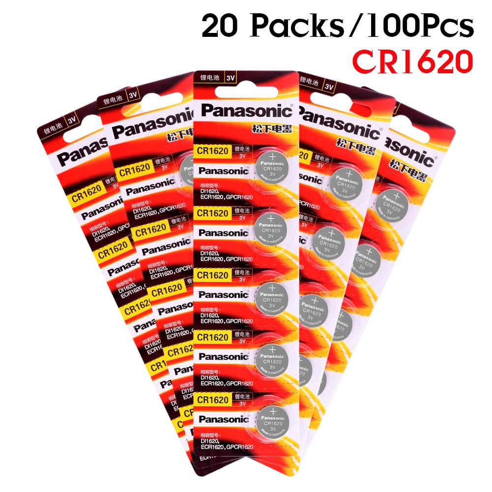 PANASONIC 100 pièces 3 V pile bouton pile bouton CR1620 LM1620 DL1620 ECR1620 5009LC pour LED lumières jouets montres