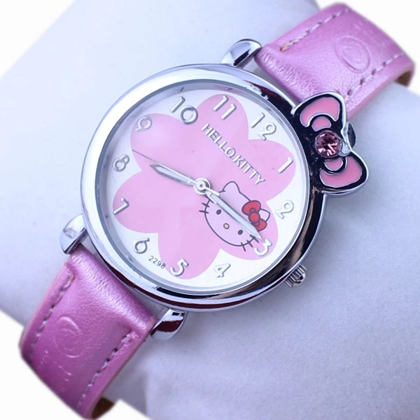 Cartoon selling hot Hello Kitty childrens watch KT cat PINK BELT student girl quartz watchCartoon selling hot Hello Kitty childrens watch KT cat PINK BELT student girl quartz watch