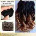 Dos tonos clip en extensiones de cabello suelto y rizado clip en extensiones del pelo humano funmi bouncy rizos del pelo brasileño rizado 100 g / 120 g / 140 g