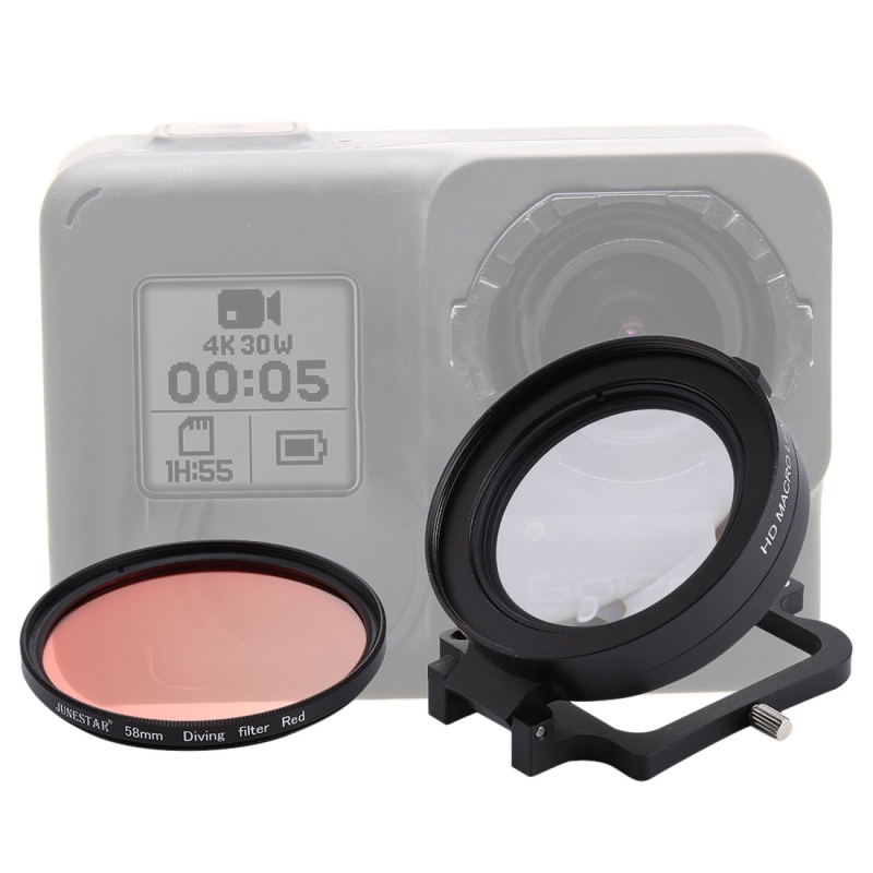 58mm 16X Macro Lens + Red Diving Lens Filter with Lens Cover+Lens Filter Ring Adapter+String+Cleaning Cloth for GoPro HERO 5/ 6 bz bz43 aluminum alloy lens ring for gopro hero2 red
