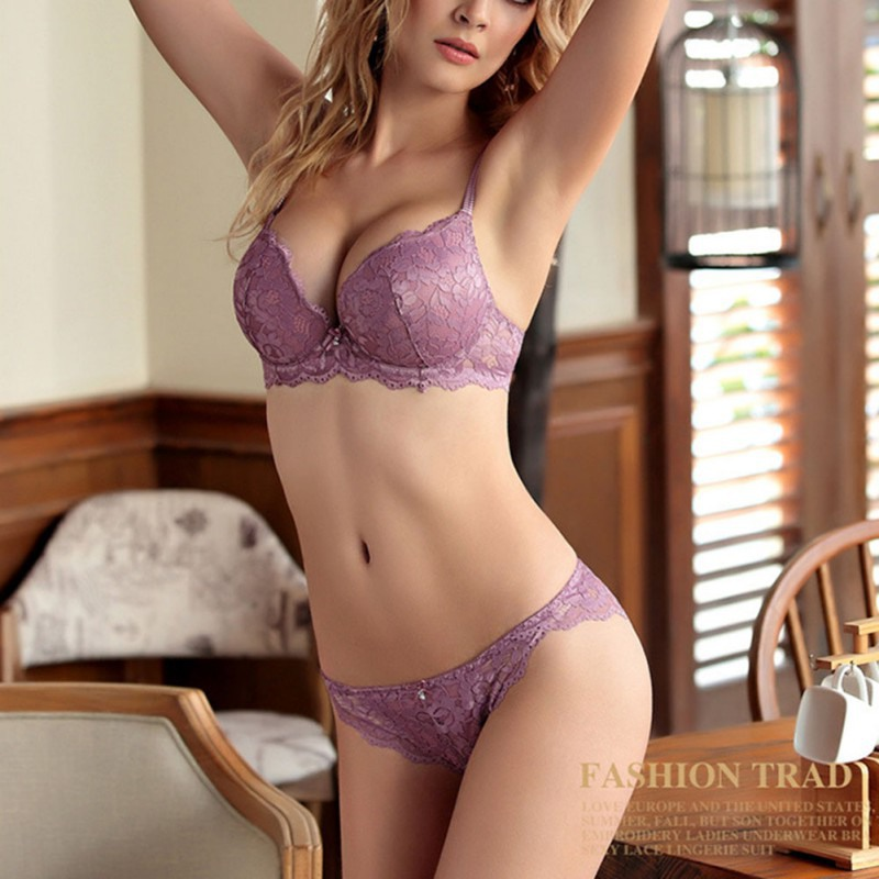 New Summer Women Embroidery Flora Push up Wire Free   Bra     Set   Panties Lace Lingerie Underwear