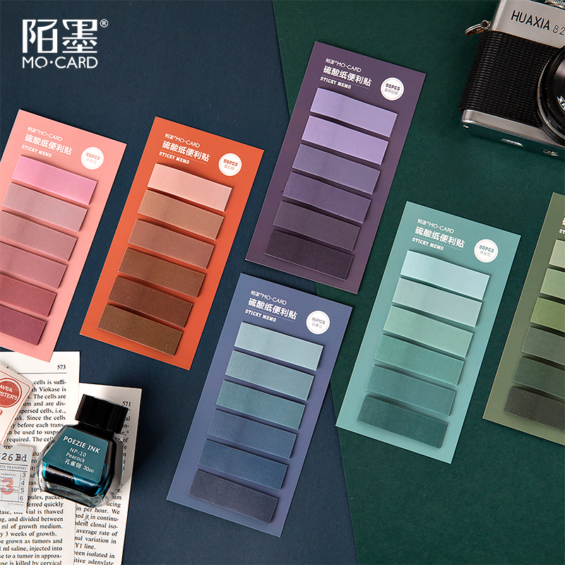 90sheets Creative Gradient Color Memo Pads N Times Sticky Notes Index Paper Divider Stickers Self-adhesive Sticky Paper Bookmark