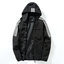 Men's Casual Striped Bomber Jacket Trend Hoodie Baseball Collar Streetwear Men's