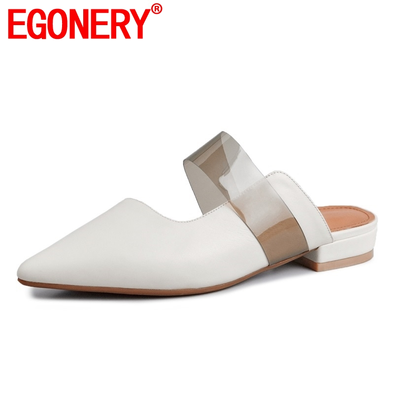 EGONERY shoes woman 2019 summer new concise casual genuine leather woman slippers outside comfortable pointed toe