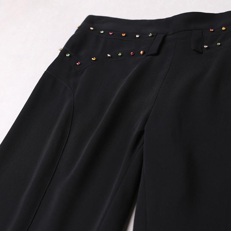 Pantalones Black Cintura Mediados Voa Plus 08 Primavera Negro Slim Tamaño K5317 Oficina 2018 Seda Básicos Otoño Mujeres Llamarada Las Leggings De qwqSaznHWr