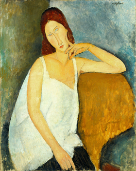 portrait picture canvas prints wall art decor giant posters home painting Portrait of Jeanne Hebuterne 1918 By Amedeo Modigliani image