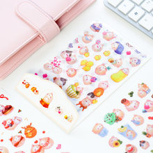 6 sheets DIY Colorful Molang Rabbits kawaii Stickers Diary Planner Journal Note Diary Paper Scrapbooking Albums PhotoTag(China)
