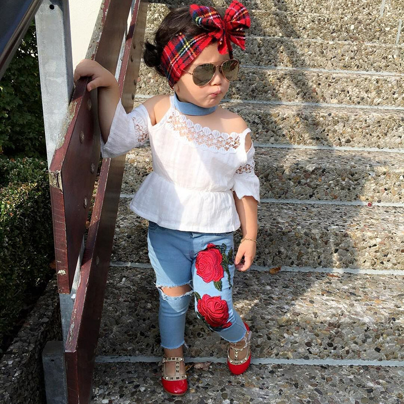 Summer time Toddler Youngsters Child Woman Off shoulder Lace T-shirt Tops+Rose Flower Ripped Denims Denim Pant 2PCS Vogue Clothes Set Clothes Units, Low-cost Clothes Units, Summer time Toddler Youngsters...