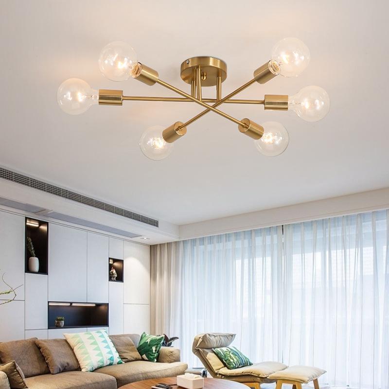 SANBUGM Modern Chandelier Sputnik Lamps Semi-embedded Ceiling Lamp Brushed Antique Gold Lighting 6 Lights Nordic Home Decoration