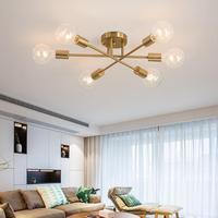SANBUGM Nordic Satélite Sputnik Lustre De Ferro Moderna Lâmpada Do Teto de Ouro Luzes de Decoração Para Casa de Iluminação Luminária