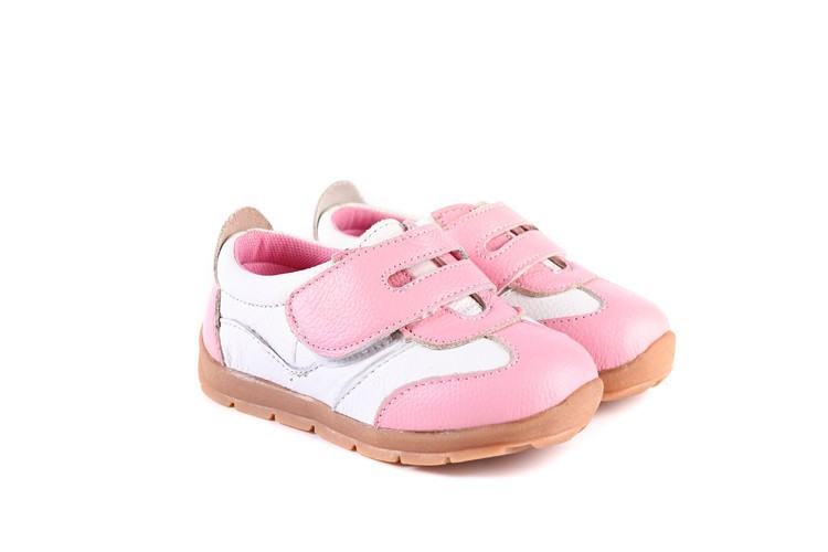 SandQ baby Boys sneakers soccers shoes girls sneakers Children leather shoes pink red black navy genuine leather flexible sole 32