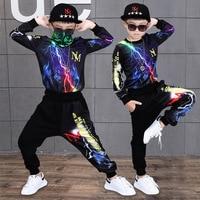 Hip Hop Style Boys Autumn Clothing Set Korean Children's Handsome Round Collar Sports Suit Kids Trendy Multicolored Clothes A834