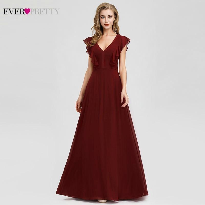 Elegant Formal Bridesmaid Dresses Ever Pretty A-Line Ruffles Sleeveless Sexy Burgundy Dresses For Wedding Party Vestido Madrinha