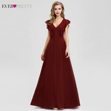 Elegant Formal Bridesmaid Dresses Ever Pretty A-Line Ruffles Sleeveless Sexy Burgundy For Wedding Party Vestido Madrinha