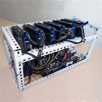 LESHP Durable DIY Installing Aluminum Steel 6 GPU Mining Miner Rig Case Open Air Frame Suitable