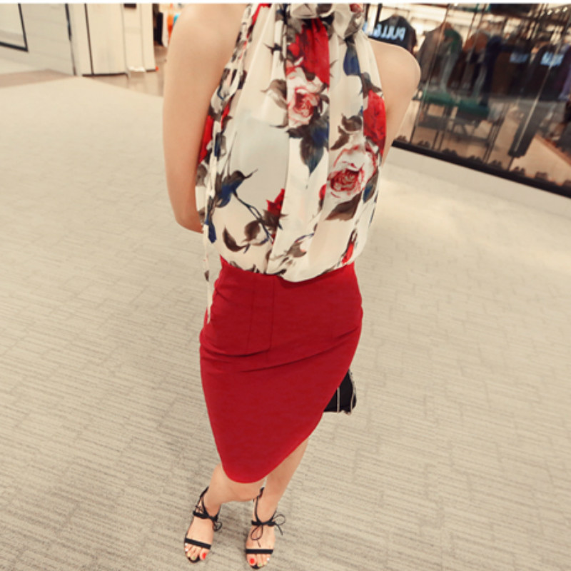 print chiffon sexy sleeves Strapless halter women's clothing blusas  4
