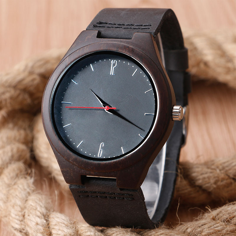 2017 Dark Wooden Watches Luxury Nature Wood Bamboo Quarzt Watch Mens Leather High Quality Male Female Unisex Clock + Gift Bag hand made mens wooden bamboo quartz watch black genuine leather watchband simple unique modern wristwatch gift for male female