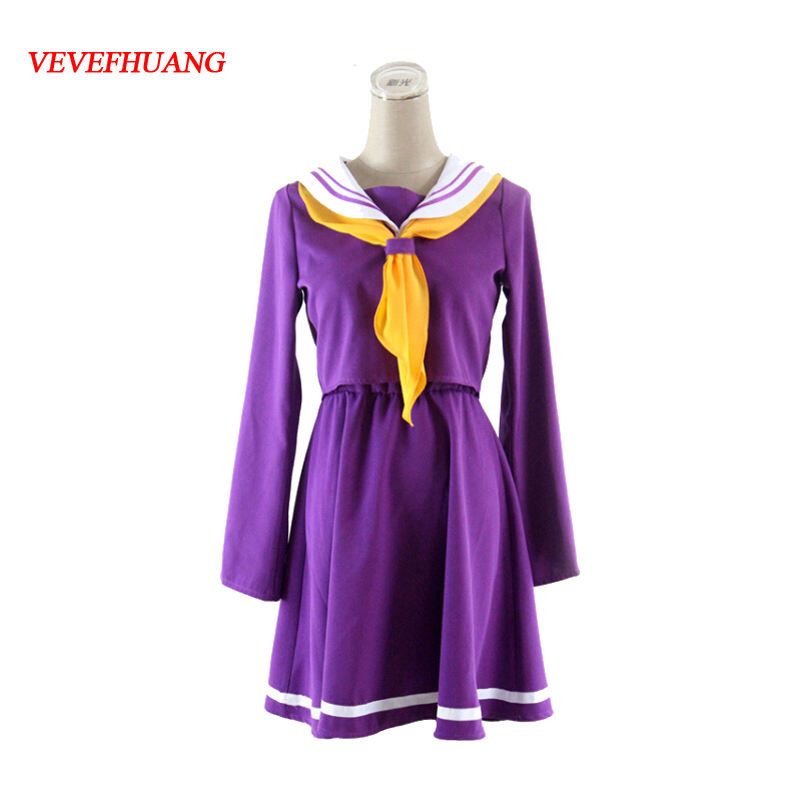 VEVEFHUANG No Game No Life Cosplay Costumes Shiro Emboitement Heroine Sailor Suit with Socks