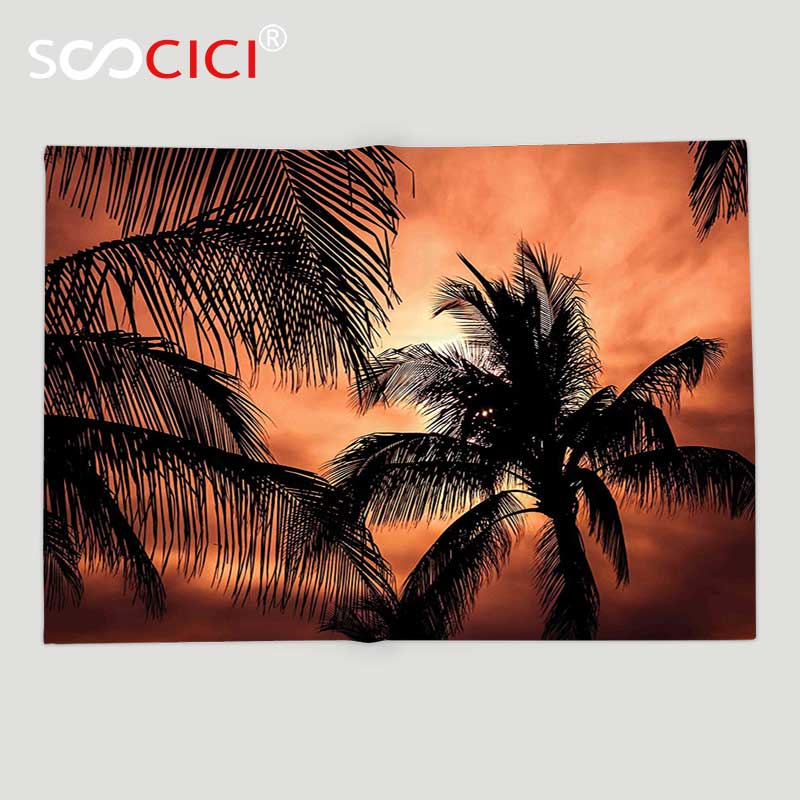 Custom Soft Fleece Throw Blanket Apartment Decor Tropical Theme The Silhouette of Palm Trees at Sunset Digital Print Orange