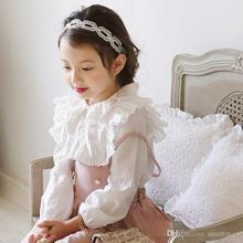 2016 New Sweet Kids Girls Fall Ruffles Tees Long Sleeve Cotton Princess Party Tops Shirts Blouse 5pcs/lot Wholesale
