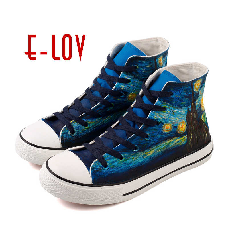 41fc0729ee99e E-LOV Women High Top Canvas Shoes Van Gogh Starry Night Hand Painted Casual  Shoes Women Canvas Design Vulcanized Shoes Women