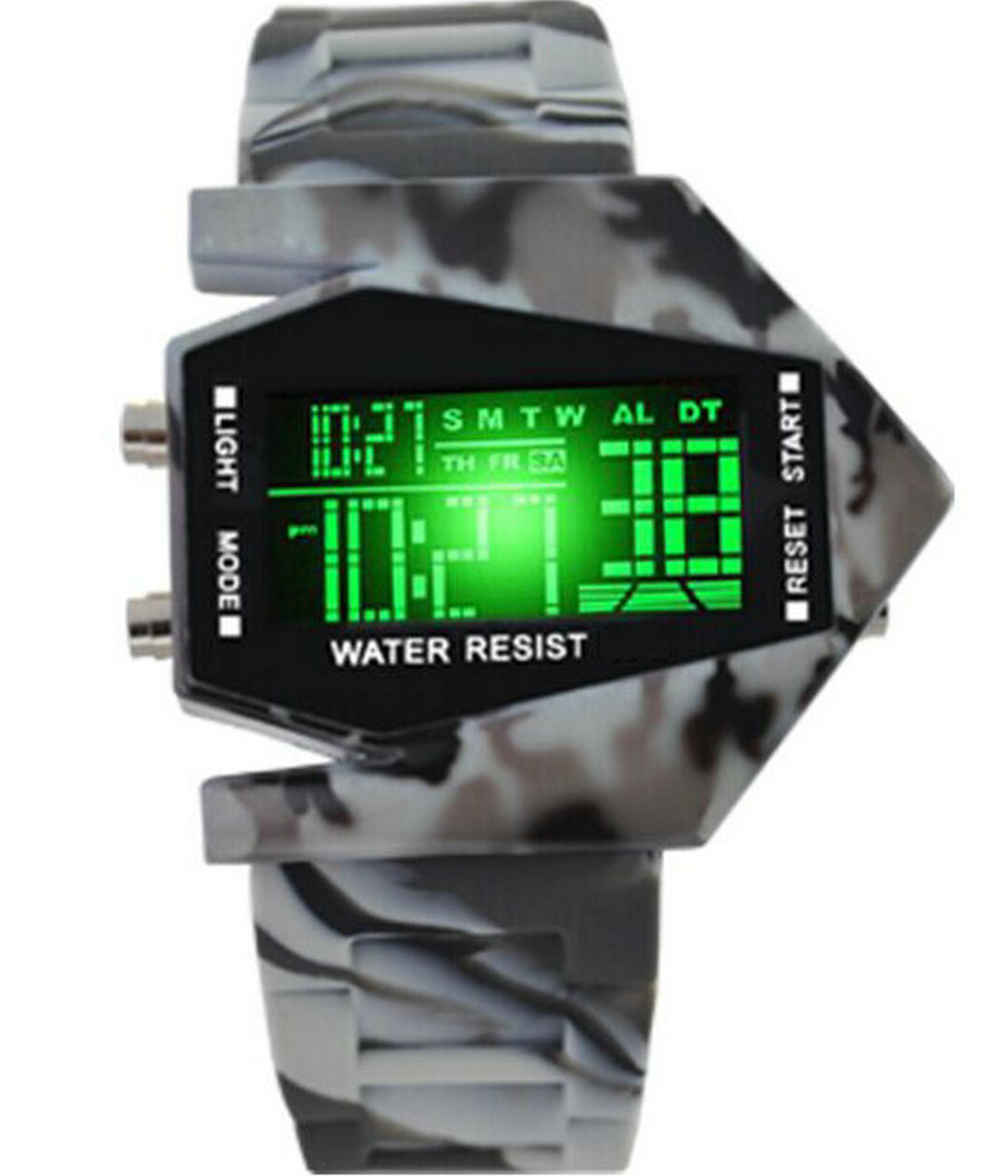 New arrival fashion led waterproof Camouflage flash fighter colorful student alarm clock electronic watch