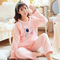 Maternity clothing nursing pajama Postpartum coral velvet cashmere on thickening flannel nursing maternity pajamas