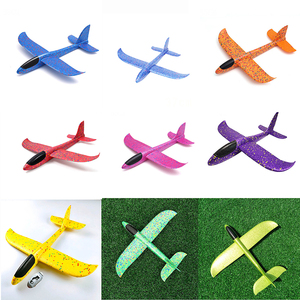 Image 2 - Kids Airplane Toy Hand Throwing Foam Plane Model 9 colors 35*35CM Outdoor Sports Planes Fun Toys For Kids Game Aircraft TY0369