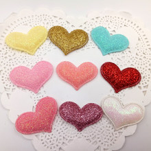 sew on Glitter felt patches for clothes 2.8x3.8cm heart Padded Applique shape 100pcs scrapbooking accessories(China)