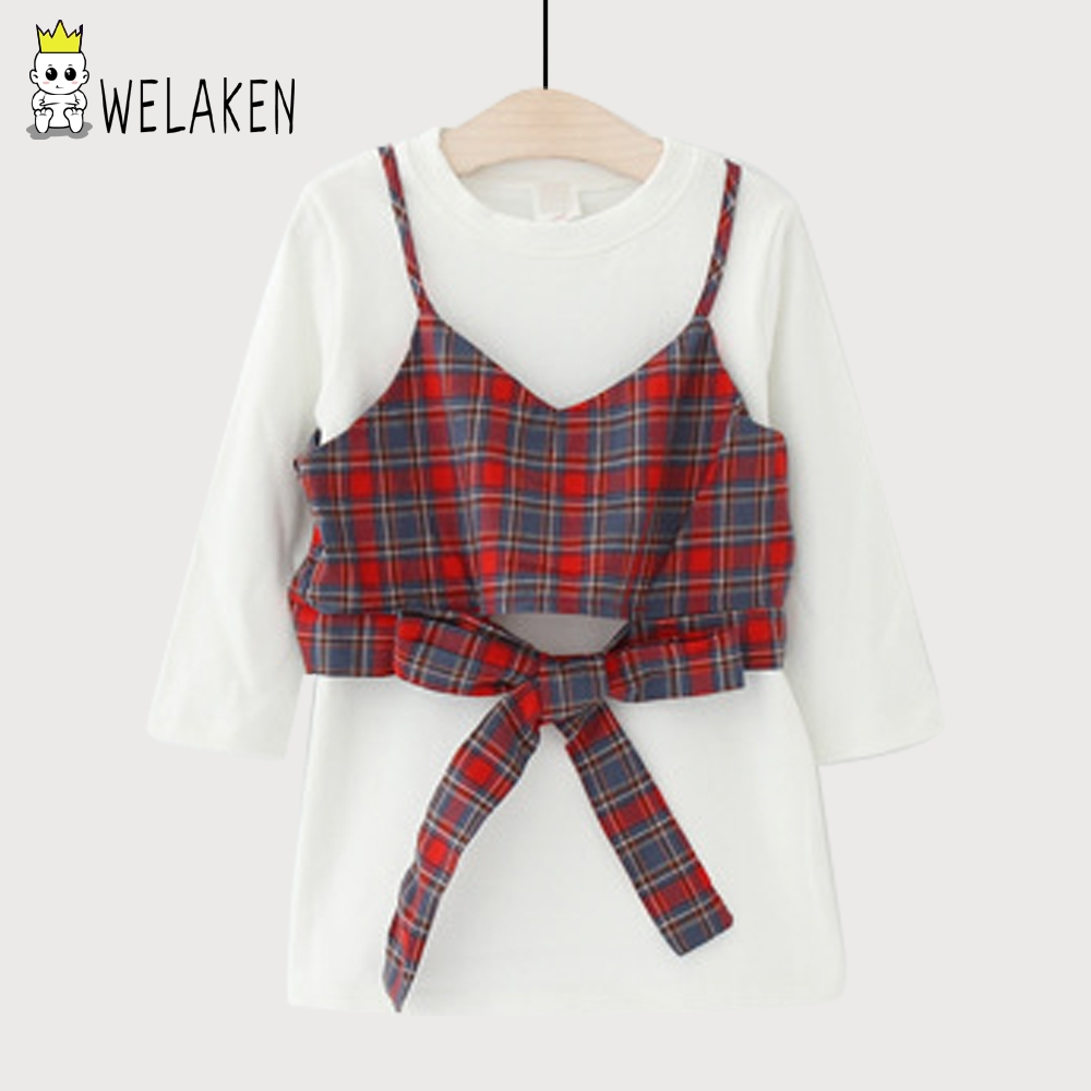 weLaken Girls Clothing Sets Kids Clothes 2017 New Autumn Shirts Sets Long Sleeves Tops Plaid Harness Toddler Cotton Suit