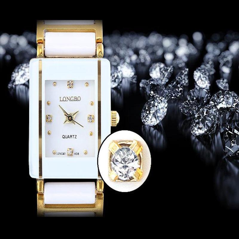 Prix pour Nouveau Célèbre Marque De Luxe Cristal Céramique Cadran Bracelet Quartz Montre-Bracelet LONGBO De Noël Cadeau pour Dames Or Rose Argent 408