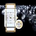 Nova Famosa Marca de Luxo Cristal Relógio LONGBO Cerâmica Dial Pulseira de Pulso de Quartzo Presente de Natal para Senhoras Rosa de Ouro Prata 408