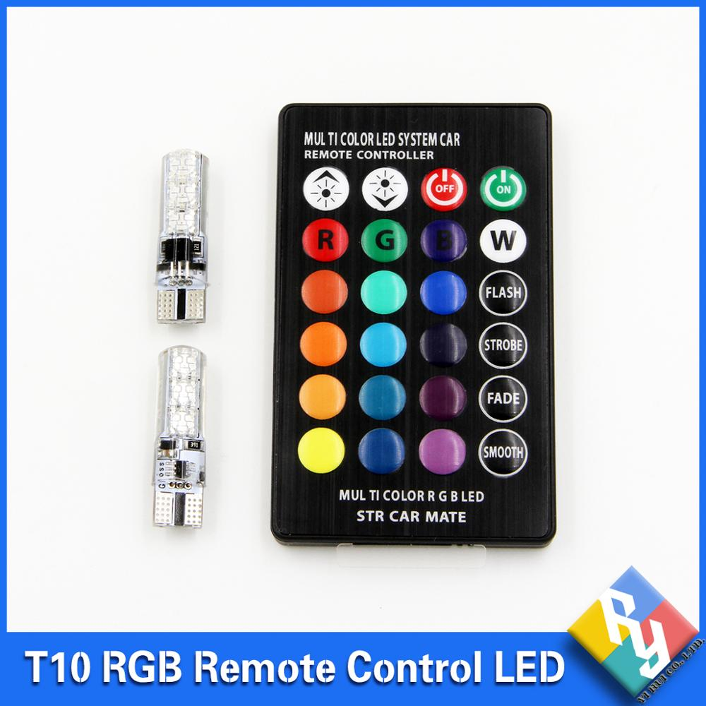 1 Set RGB LED T10 Bulb With Remote Control 5050 SMD Demo Light W5W 194 168 LED Car Side Wedge Tail Lamp 100pcs lot car auto led t10 5050 w5w 5 smd 194 168 led white car side wedge tail light lamp bulb 12 30m sticker on carvoiture
