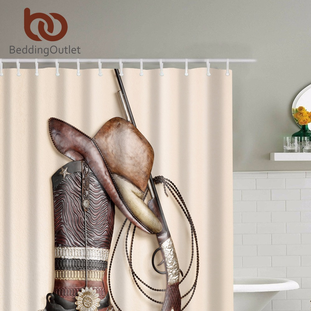 BeddingOutlet Country Cowboy Shower Curtain Cowboy Boots Hat Print Bathroom  Waterproof Curtain Shower Set With Hooks