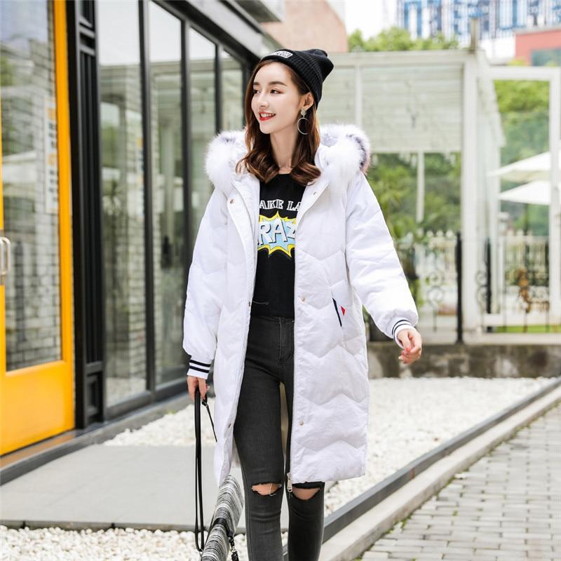 Long Black 2019 Survêtement Femelle Manteau white Col Fourrure Hiver Zx318 Couleur Doudoune Mode Grand Femmes Lâche De Nouveau Décontracté Solide UUrwPqv