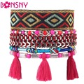 Bonsny 2016 New Brand Weave Bead Handmade Bracelet Fashion Bohemian Multilayer Tassels Bracelets Bangle Jewelry For Girl Women