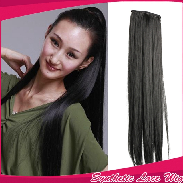 da4cb855b20 Long Lady Girl Fake Straight Ponytail Pony Hair Hairpiece Extension Black  Hair Extensions Good Quality Black Hairpiece