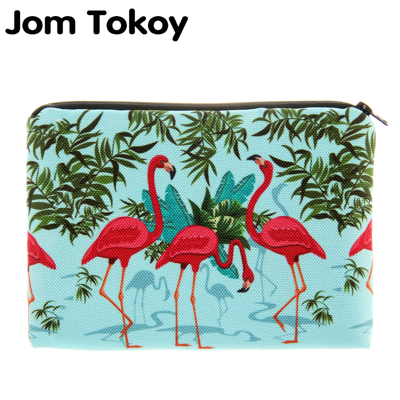 Jom Tokoy Flamingos 3D Printing simple makeup bag neceser Cosmetic case women trousse de maquillage organizer pencil case unicorn 3d printing fashion makeup bag maleta de maquiagem cosmetic bag necessaire bags organizer party neceser maquillaje